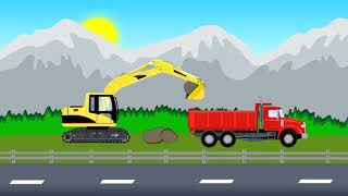 Construction Vehicles For Children | Excavator, Truck, Bulldozer