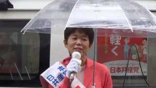 小越智子山梨県議会議員選挙候補(甲府市区)告示日の街頭演説