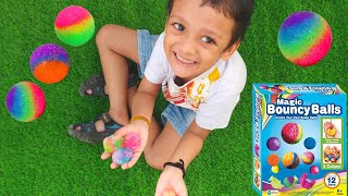 Cucudu learns to make own Rainbow magic Bouncy balls | Unboxing Science experiment kits for kids
