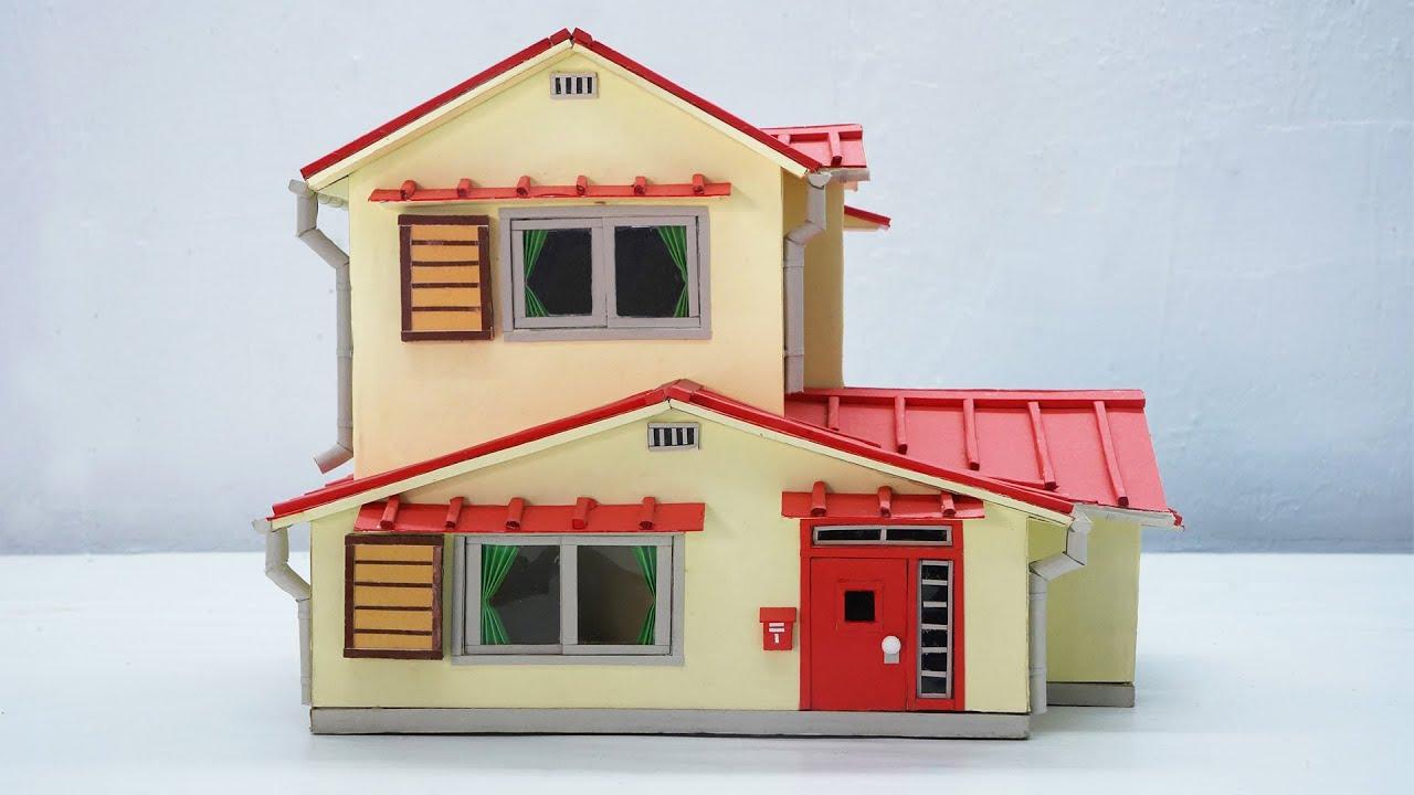 How To Make Nobita House With Cardboard Diy Doraemon House Youtube
