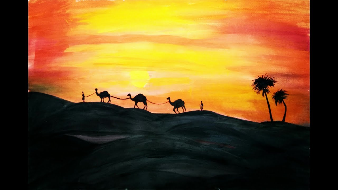 Desert Painting With Camels Easy Landscape Painting For Beginners Water Color Painting Tutorial