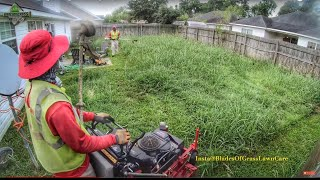 Lawn Mower - PART #1 Mowing a Overgrown Backyard | Mowing tall grass (REAL TIME & SOUNDS)