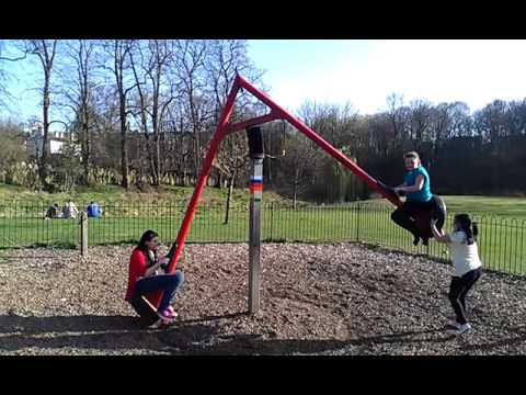 Demi-Lea and Megan on the swing at Styal Park