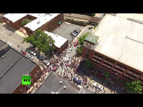 Drone captures moment of car attack on Charlottesville protesters