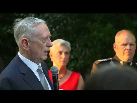 Secretary Mattis honored at Marine Barracks evening parade