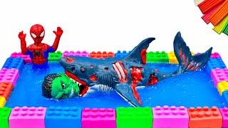 Spiderman and Hulk VS Zombie Shark with clay ️🐛 Superheroes vs Shark Zombie 🐛Polymer Clay Tutorial