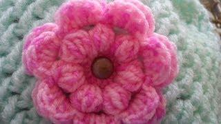 Repeat youtube video Horgolt buborék-mintás virág készítése