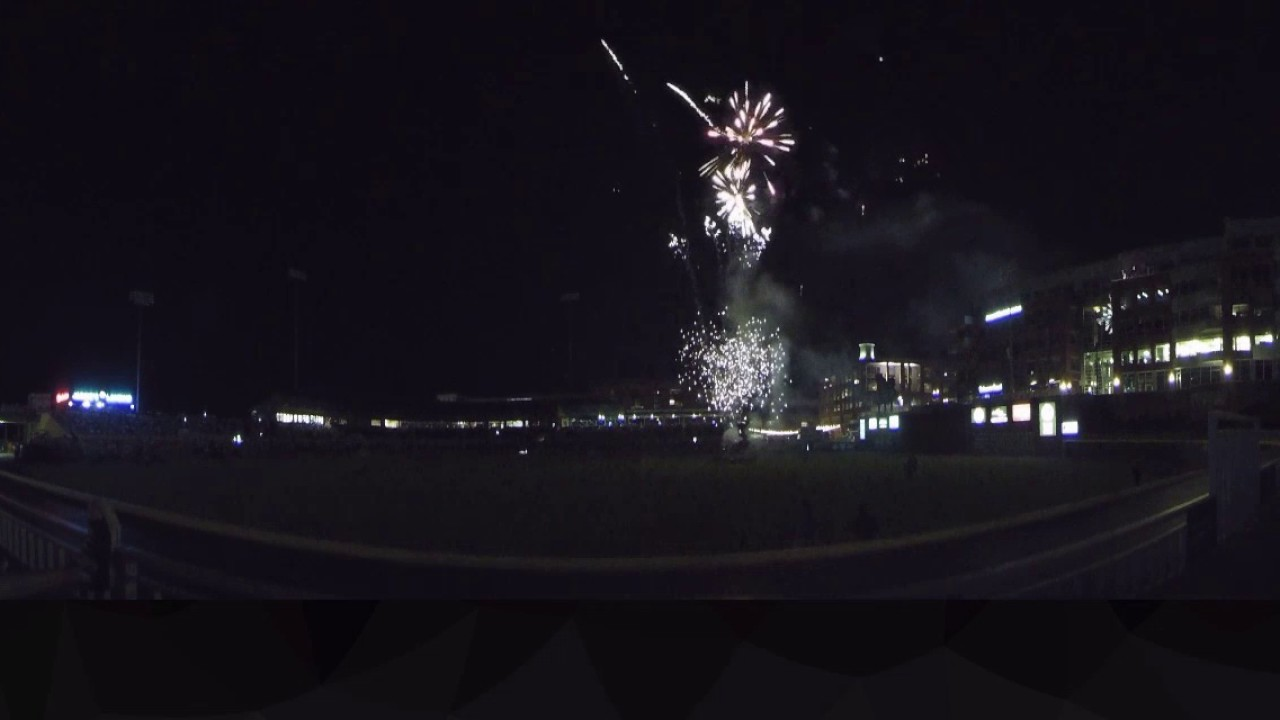 Vr 360 Fireworks Show Durham Bulls Post Game Youtube