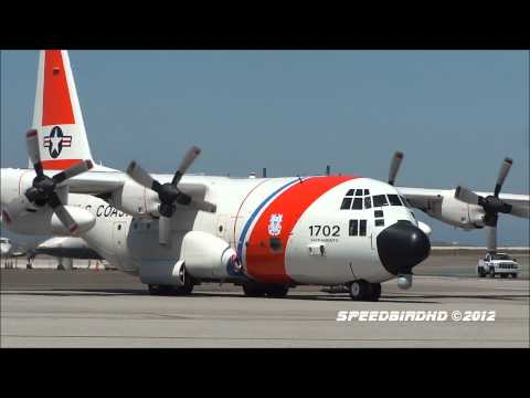 US Coast Guard Hercules C-130H [1702] Engine Start, Taxi, and Takeoff