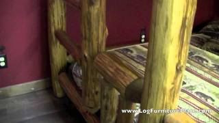Partially Enclosed Twin Over Full Cedar Log Bunk Bed
