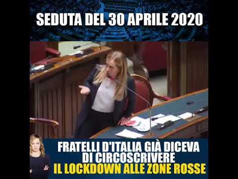 Giorgia Meloni: 30-04-2020, Fratelli d'Italia già diceva di circoscrivere lockdown alle zone rosse