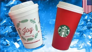 Dunkin Donuts Joy holiday cups vs Starbucks red only cups: War on Christmas Round 1