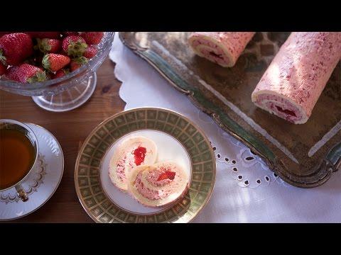 gâteau-roulé-aux-fraises