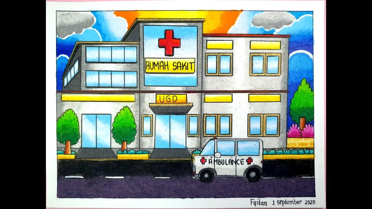 Cara Gradasi Warna Ep 240 Menggambar Rumah Sakit Dan Mobil Ambulance Youtube