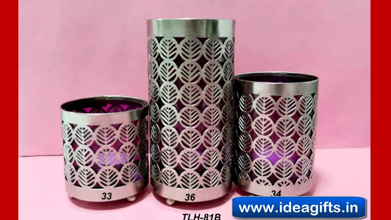 Decorative Crystal Tea Lite Candle Stands Holders Silver Metal