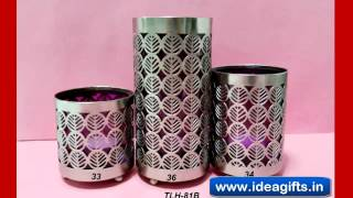 Decorative Crystal Tea Lite Candle Stands Holders Silver Metal Handicrafts Exporters India