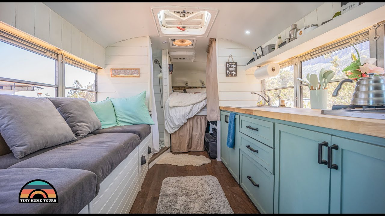 Her Cleverly Designed Tiny House - Full Bathroom In A Bus Conversion