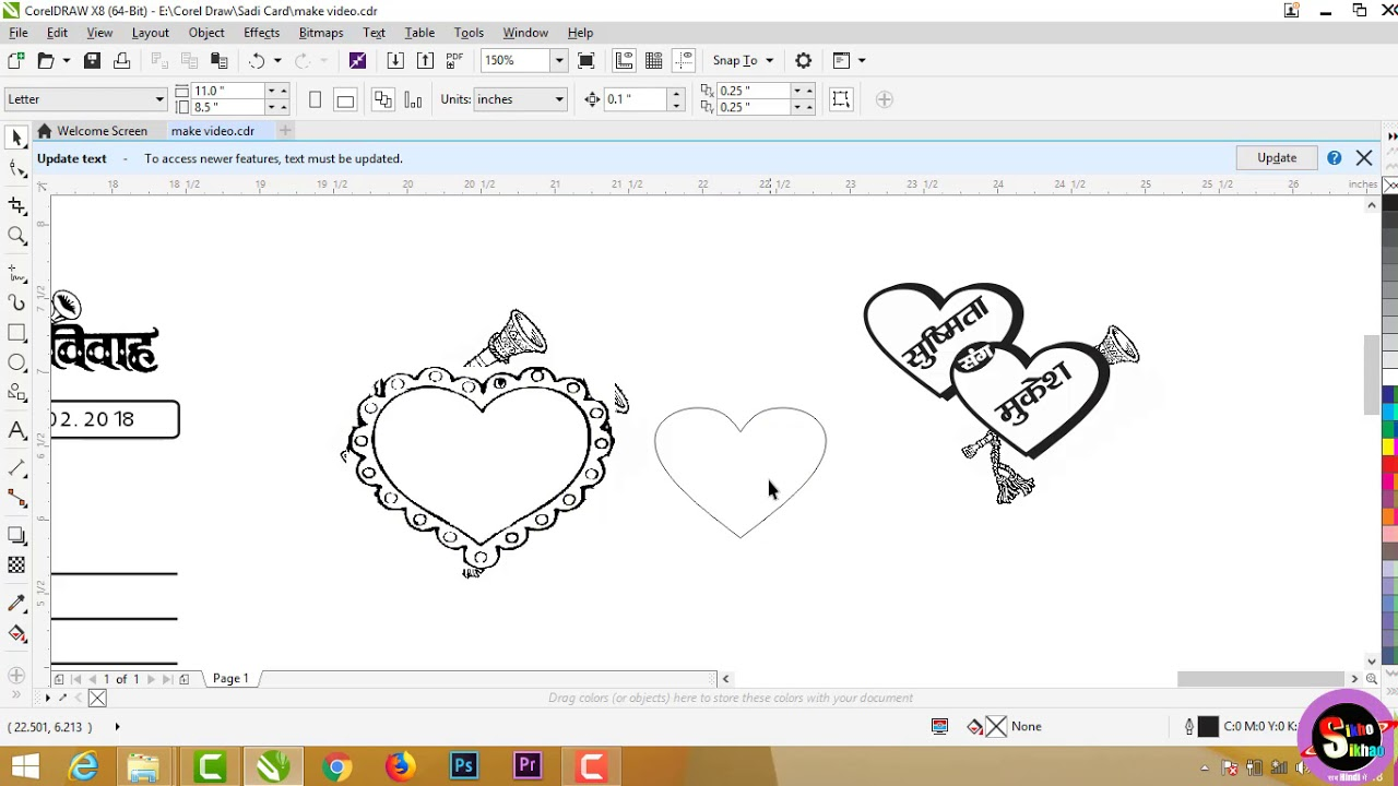 Line Art Corel Draw Tutorial : Corel draw clip art wedding hindi video