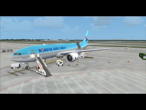 PMDG 777 Korean air cargo 8125 ZSPD to ZBAA on vatsim,fsx,f2crew,1st flight in 2015