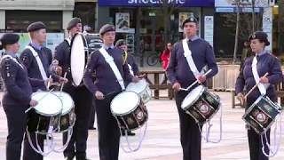 Excellent Drum Salute by Royal Air Force Cadets on parade in Dundee City centre, Scotland, 2019