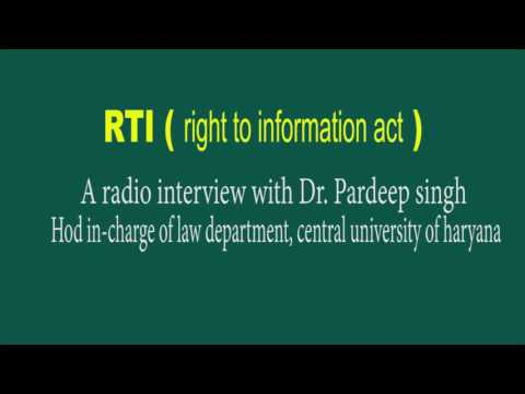radio interview about RTI act- central university of haryana