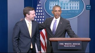 Obama Makes Surprise Visit During Final White House Press Briefing thumbnail