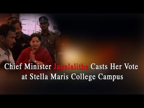Chief Minister Jayalalitha Casts her Vote at Stella Maris College Campus-RedPix24x7  தமிழகத்தில் இன்று காலை 7 முதல் மாலை 6 மணி வரை வாக்குப் பதிவு நடைபெற்றது.முதல்வர் ஜெயலலிதா, தென் சென்னை தொகுதிக்குள்பட்ட ஸ்டெல்லா மேரிஸ் மகளிர் கல்லூரி வாக்குச் சாவடியில் காலை 8.45 மணிக்கு வாக்களித்தார்.    http://www.ndtv.com BBC Tamil: http://www.bbc.co.uk/tamil INDIAGLITZ :http://www.indiaglitz.com/channels/tamil/default.asp  ONE INDIA: http://tamil.oneindia.in BEHINDWOODS :http://behindwoods.com VIKATAN http://www.vikatan.com the HINDU: http://tamil.thehindu.com DINAMALAR: www.dinamalar.com MAALAIMALAR http://www.maalaimalar.com/StoryListing/StoryListing.aspx?NavId=18&NavsId=1 TIMESOFINDIA http://timesofindia.indiatimes.com http://www.timesnow.tv HEADLINES TODAY: http://headlinestoday.intoday.in PUTHIYATHALAIMURAI http://www.puthiyathalaimurai.tv VIJAY TV:http://www.youtube.com/user/STARVIJAY  Music: Sunflower Artist:Topher Mohr and Alex Elena Album:YouTube Audio Library  -~-~~-~~~-~~-~- Please watch: