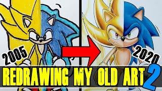 """I tried Redrawing my OLD, """"BAD"""" Art   My FIRST Drawing's..? SUPER Sonic The Hedgehog   2"""