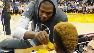 Kevin Durant Takes Nachos From Young Fan In Middle of Practice