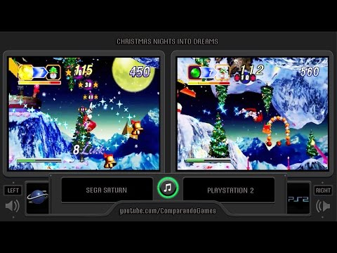 Christmas NiGHTS Into Dreams (Sega Saturn vs Playstation 2) Side by Side Comparison