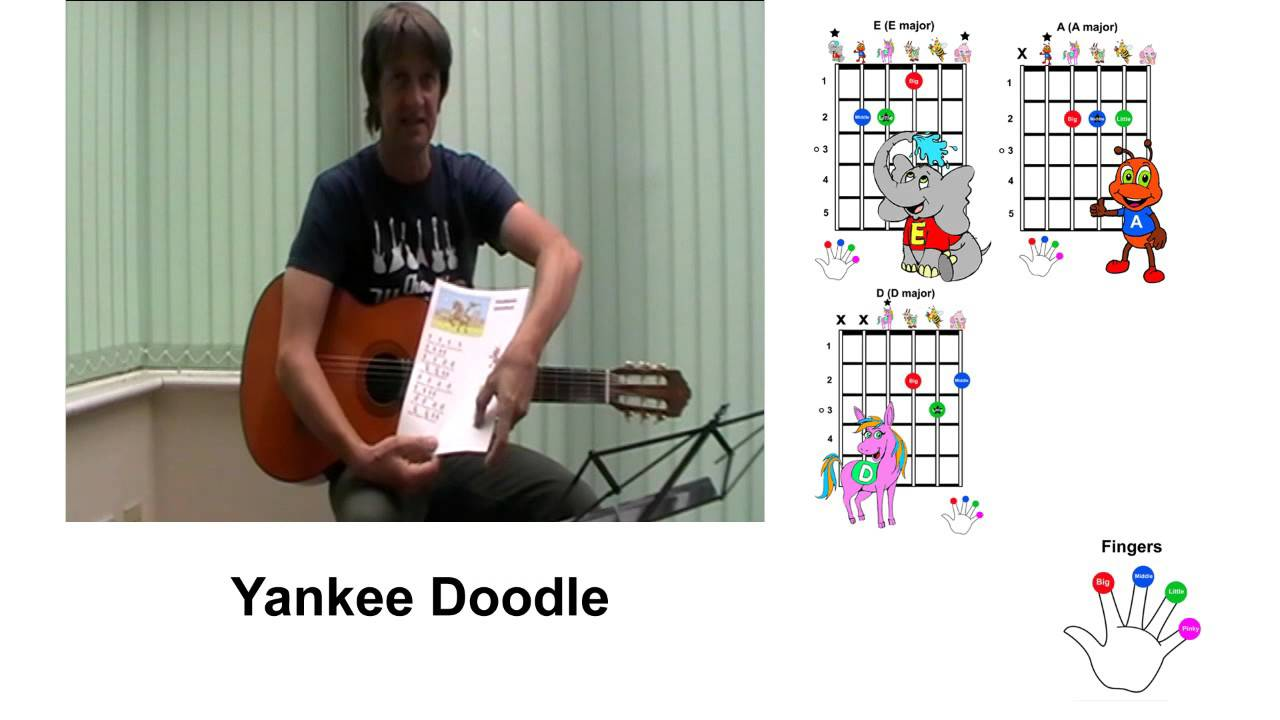 Yankee Doodle Guitar Lesson For Young Kids Children Youtube