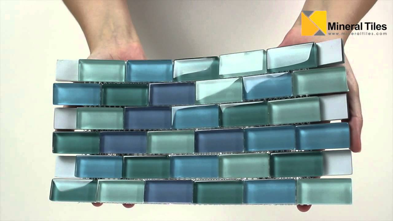 Glass Subway Mosaic Tile Turquoise Blend - 101CHIGLA12LTGR - YouTube
