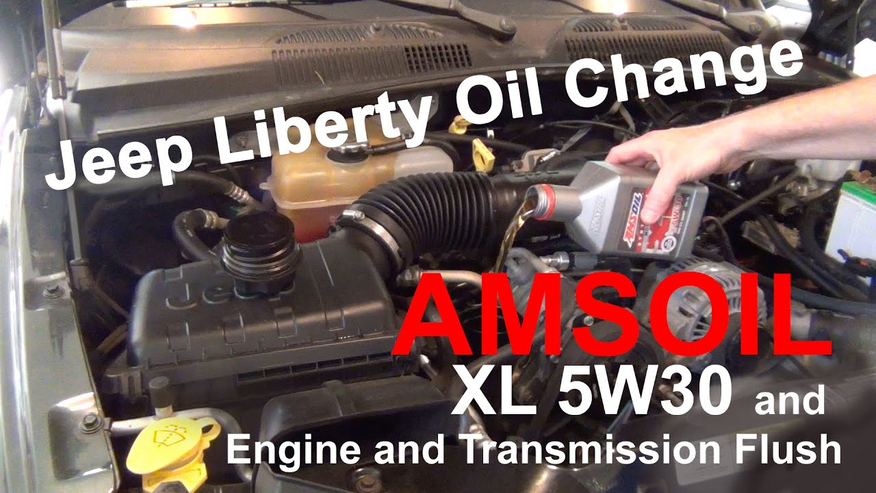 Jeep Liberty Oil Change AMSOIL XL 5W-30 Synthetic Oil and Engine &  Transmission Flush