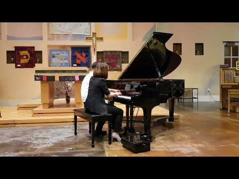 J1 plays Blue Danube Fantasy 4 hands by Anderson/Strauss with teacher YM Jung