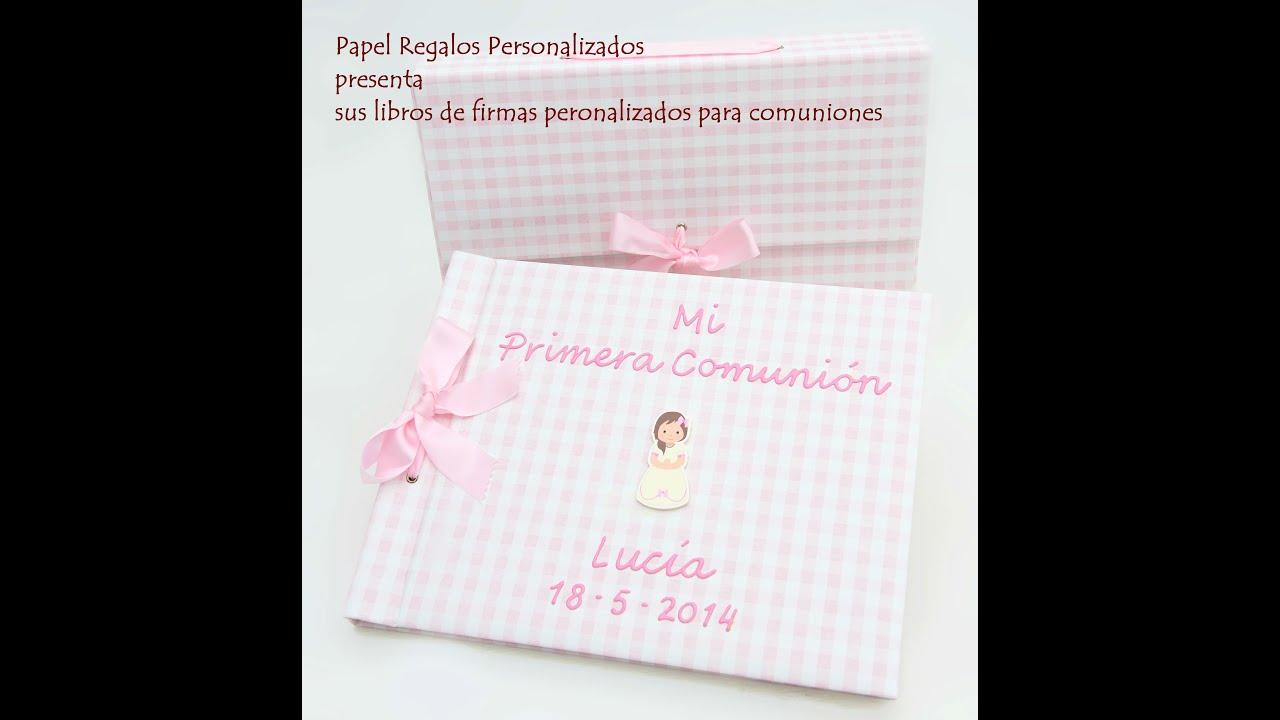 Libros de firmas personalizados para comuni n youtube for Interior libro de firmas comunion
