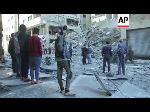 Aftermath of Israeli airstrike that destroyed TV station of Gaza's Hamas rulers