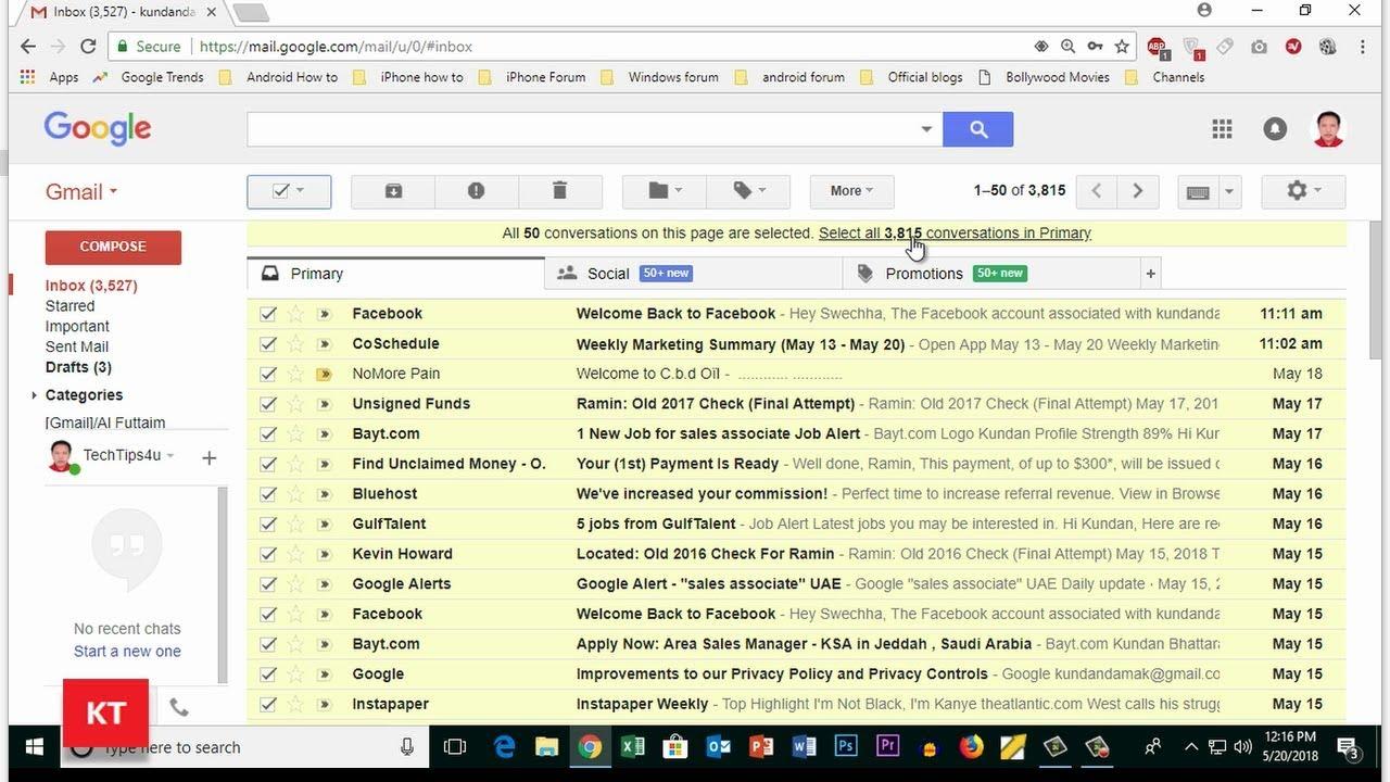 gmail app alle mails löschen