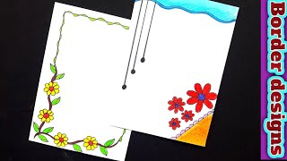 Beautiful border designs/Easy border designs on paper for project work by priya creations
