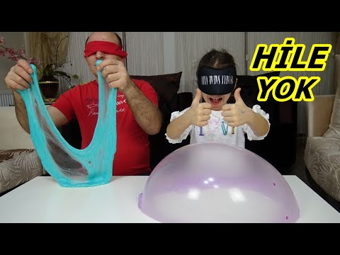 BABAMLA GÖZÜ KAPALI SLİME CHALLENGE ! EN GÜZELİNİ KİM YAPACAK Funny Kids Video