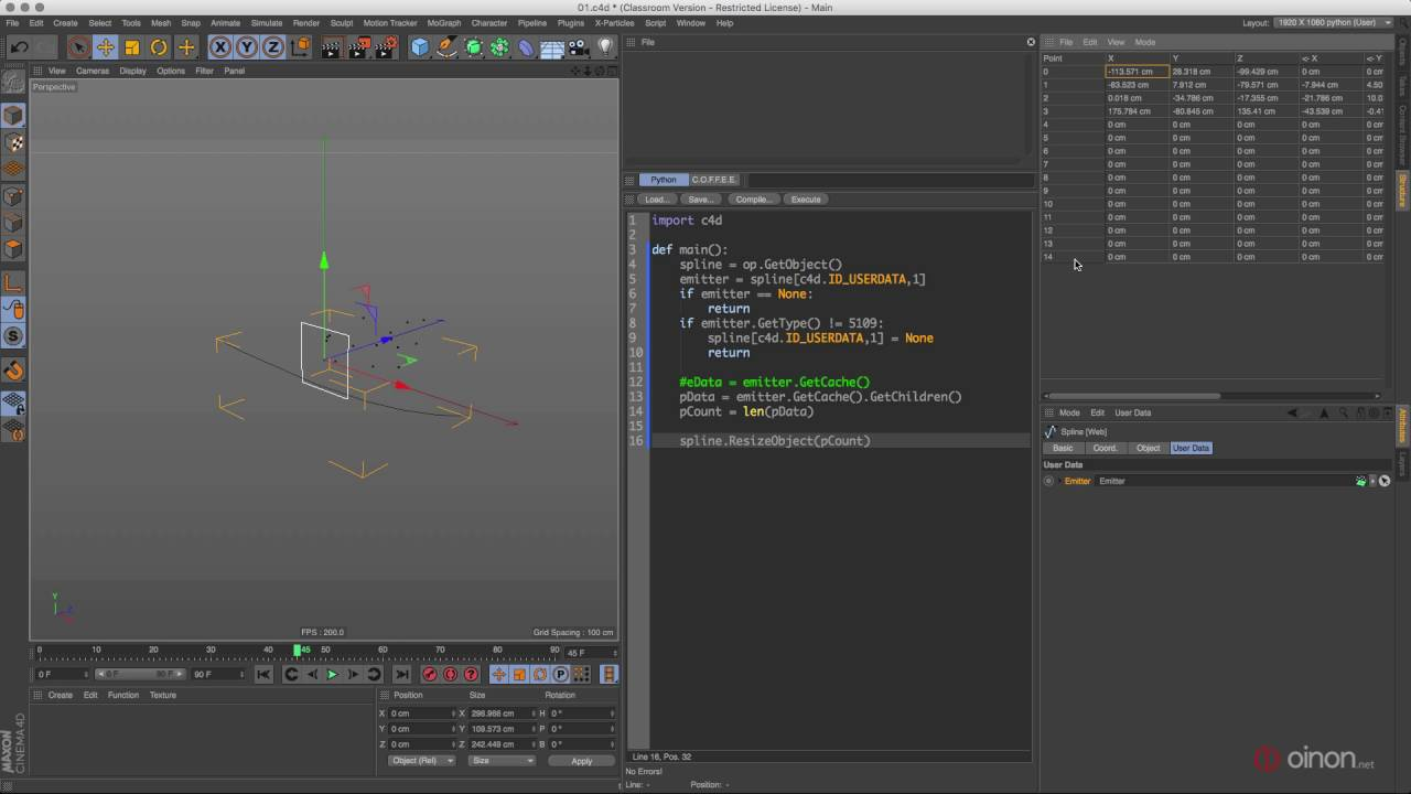 20160821 c4d python - How to create web spline from particles