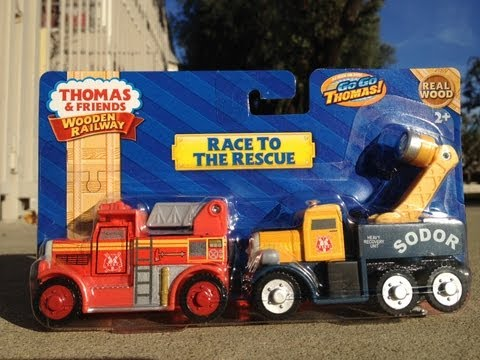 New 2013 Mattel Thomas The Tank Engine Wooden Railway - RACE TO THE RESCUE - 2 Pack Flynn & Butch