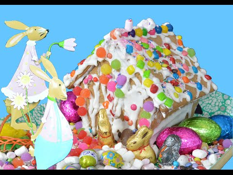 Easter Bunny House : How to DIY Gingerbread House Candy Eggs Family Kids Cooking IRL Toys In Action