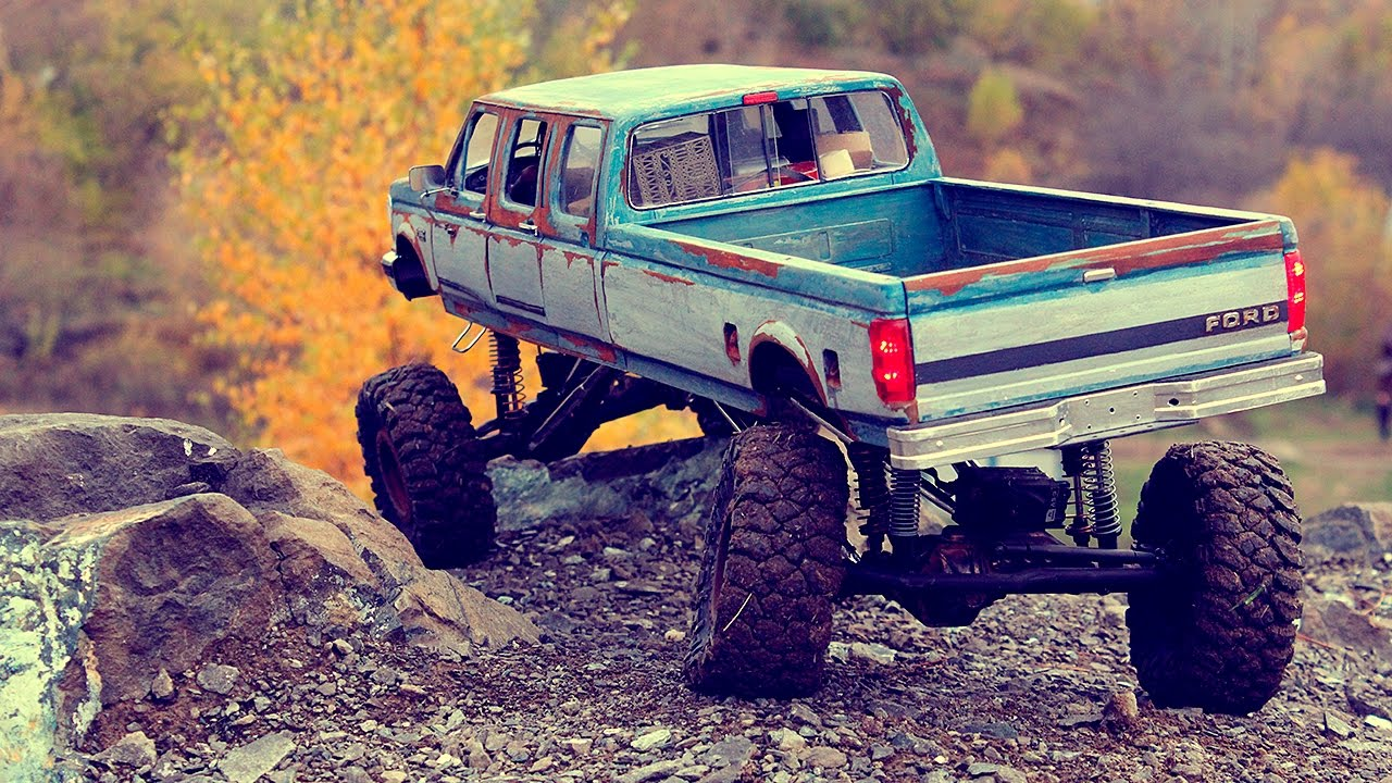 Ford F350 6 Door >> Early autumn '92 Ford F-350 RC crawling 6-door 4 motor - YouTube