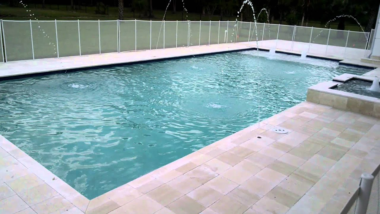 900 sq ft pool with spa and water features youtube for Average square footage of a pool