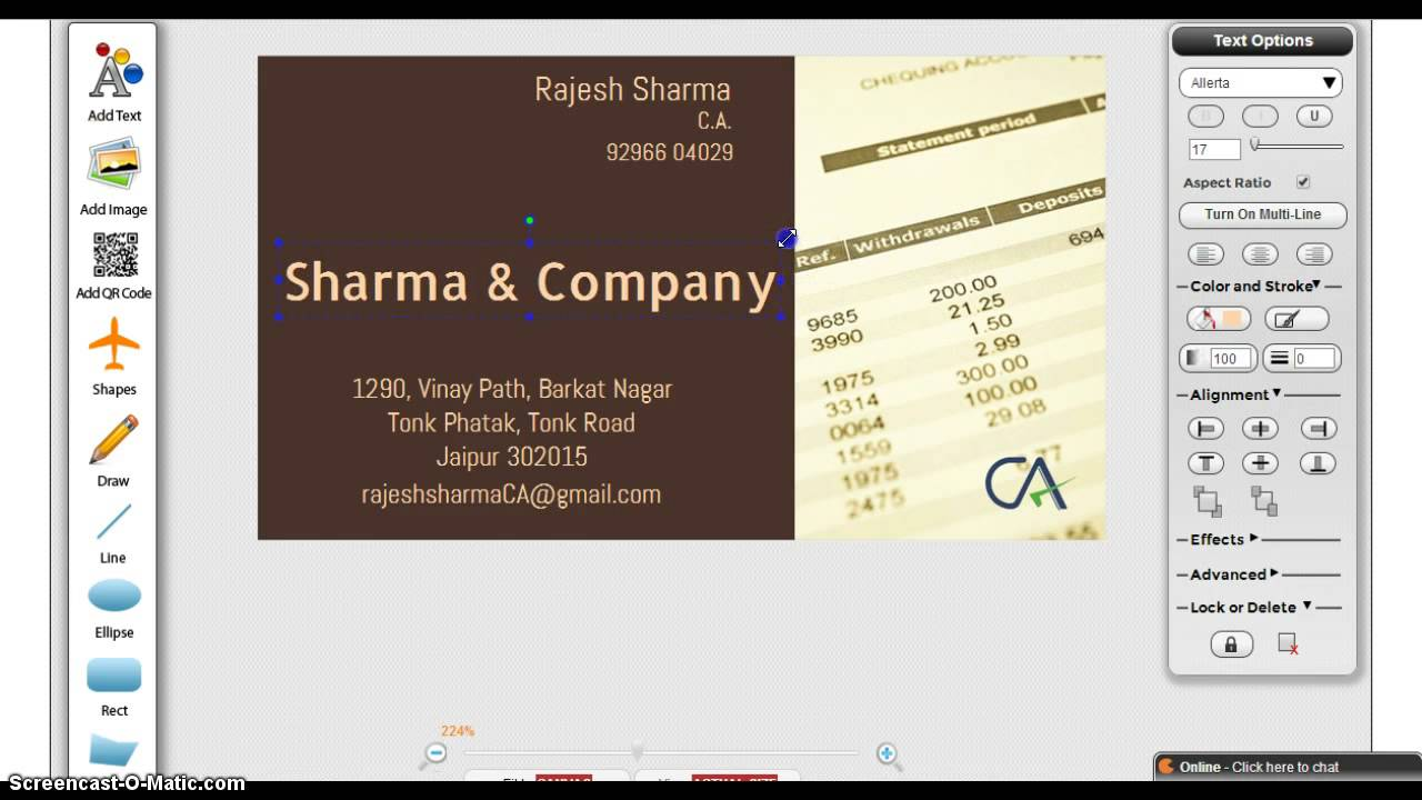 Chartered Accountant Visiting card - YouTube
