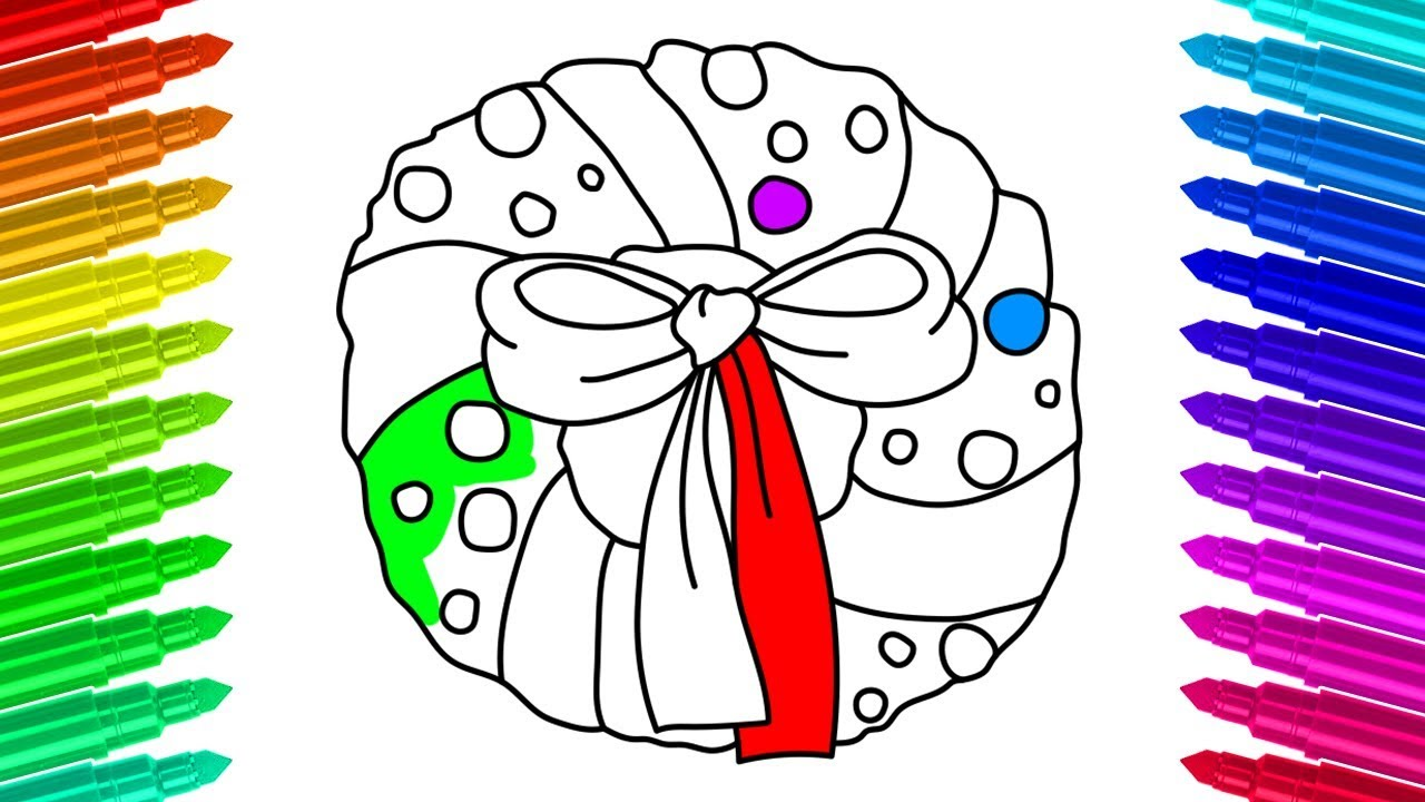 How To Draw Christmas Wreath Color Pages For Children