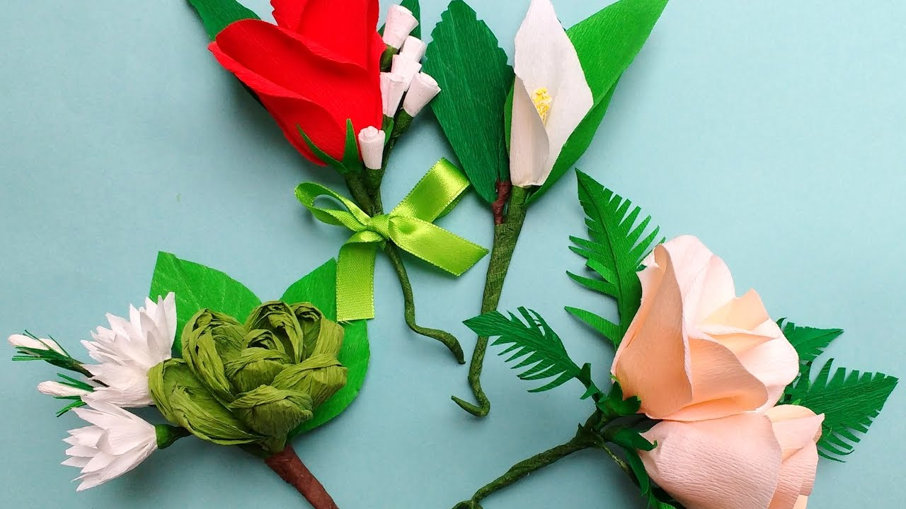 Diy how to make easy paper flowers corsage boutonniere youtube mightylinksfo