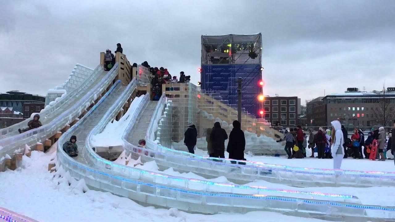 VLOG Катание на Ледяной Горке. Смотрим Ледяные скульптуры Видео для детей Весёлые Игры со снегом