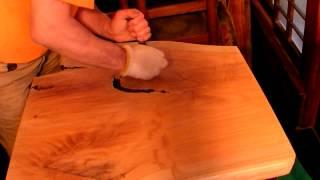 木の防水,保護コーティング,欅木製テーブルにGM-1508他,エポキシ塗布26
