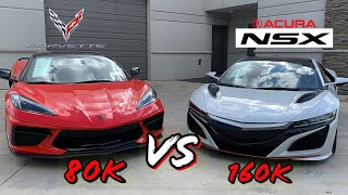 The 160k Acura NSX vs. 80k Corvette C8 .. Which is Really the Better Car?